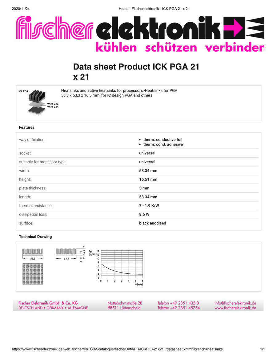 ICKPGA 21X21  Fischer /フィッシャー PGA用 ヒートシンク