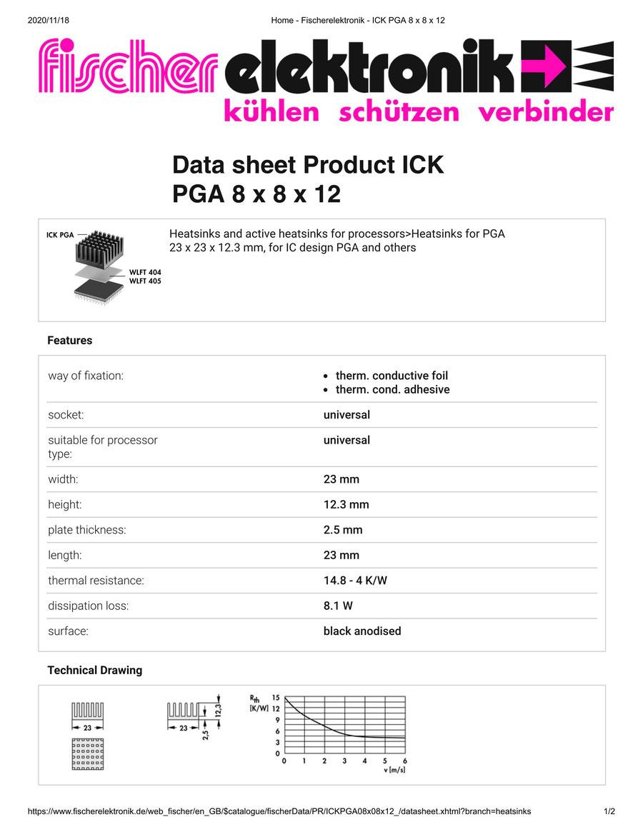 ICK PGA 8x8x12  Fischer /フィッシャー PGA用 ヒートシンク
