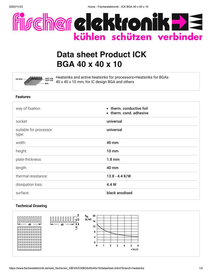 ICK BGA 40x40x10 Fischer / フィッシャー BGA用 ヒートシンク