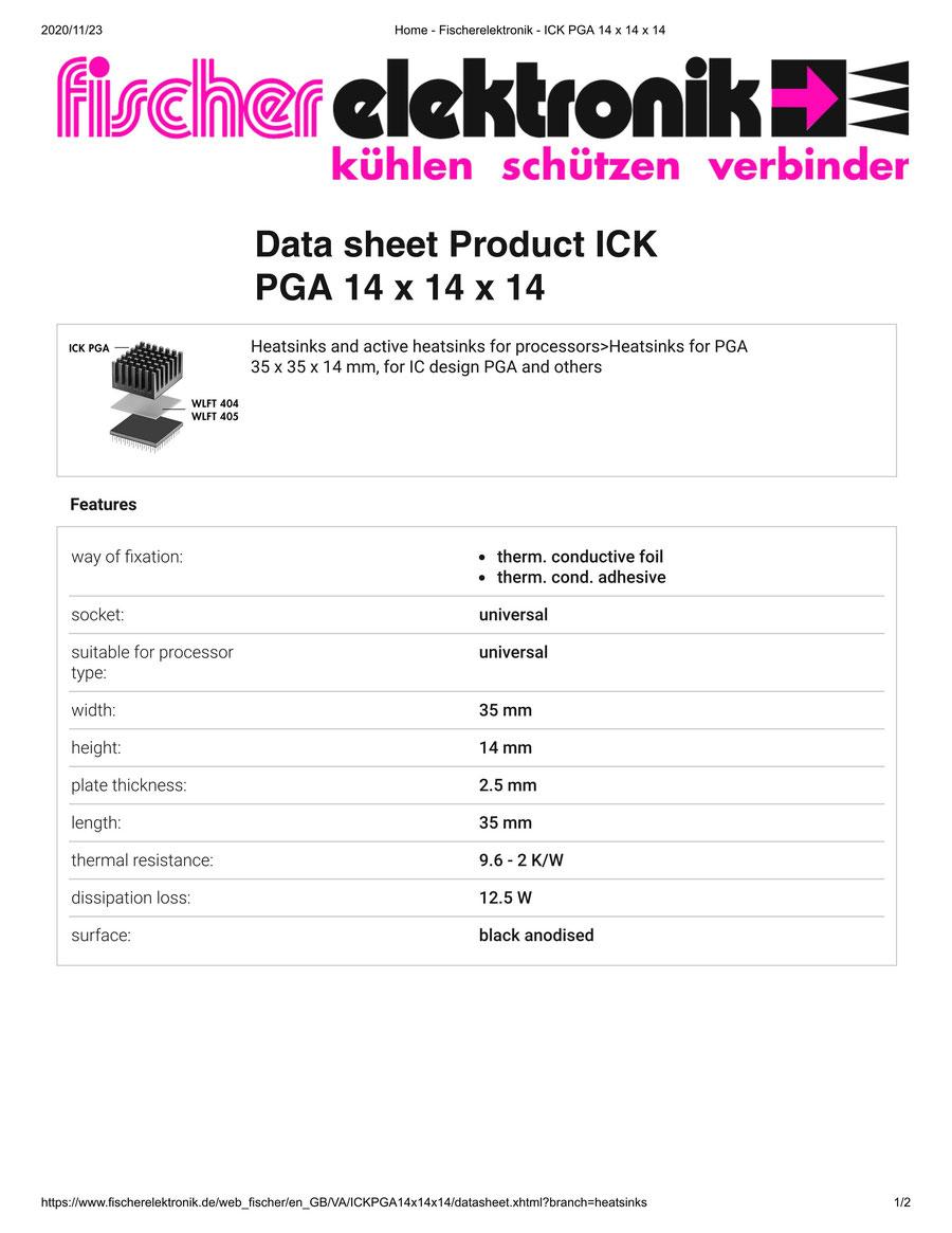 ICK PGA 14x14x14   Fischer /フィッシャー PGA用 ヒートシンク
