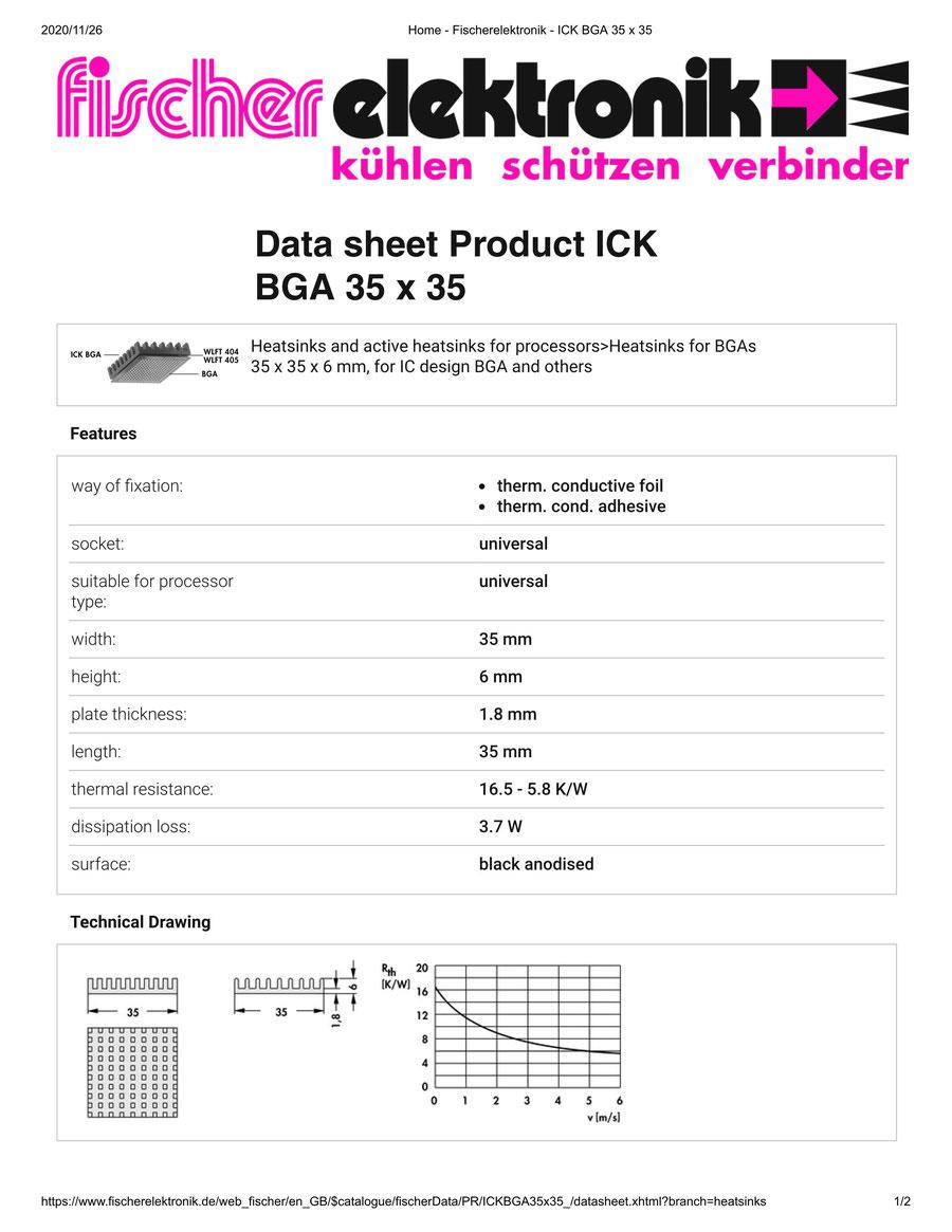 ICK BGA 35x35 Fischer / フィッシャー BGA用 ヒートシンク