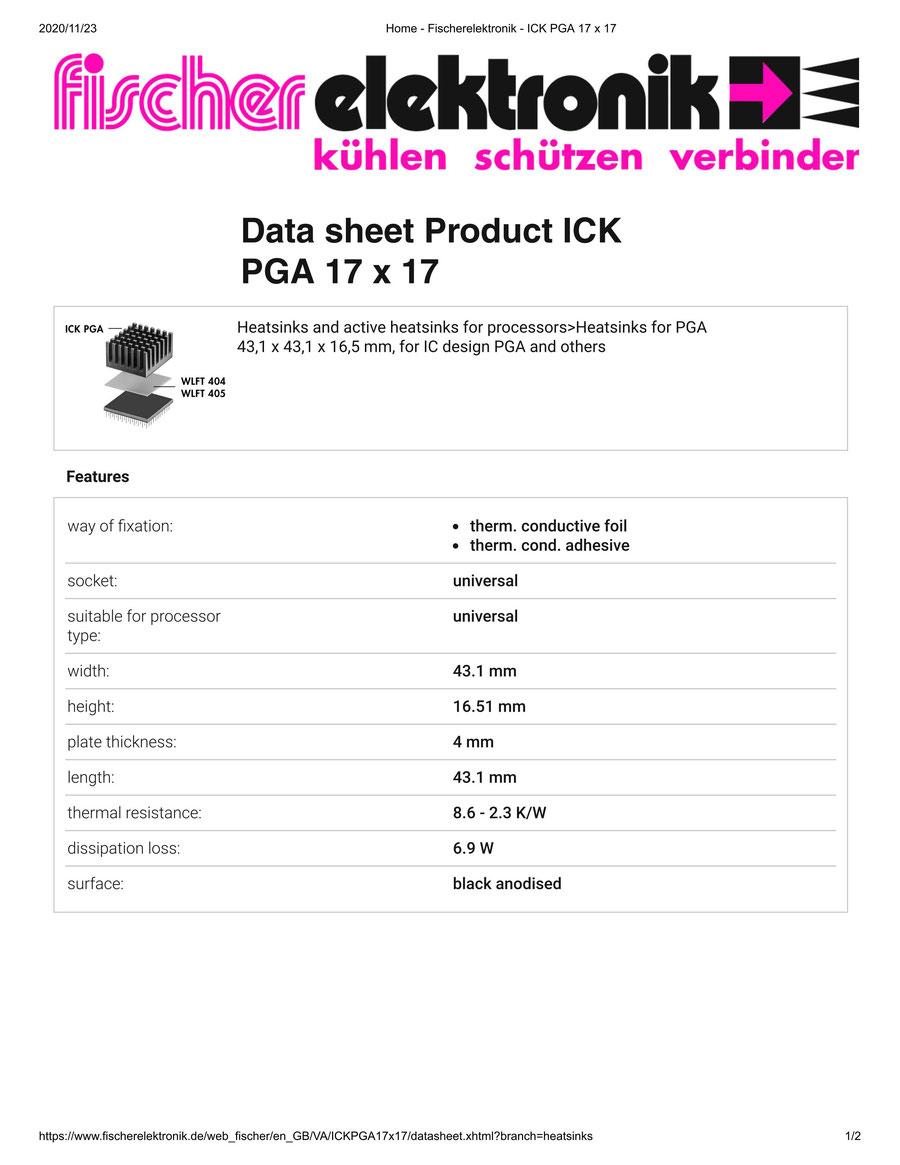 ICKPGA 17X17  Fischer /フィッシャー PGA用 ヒートシンク