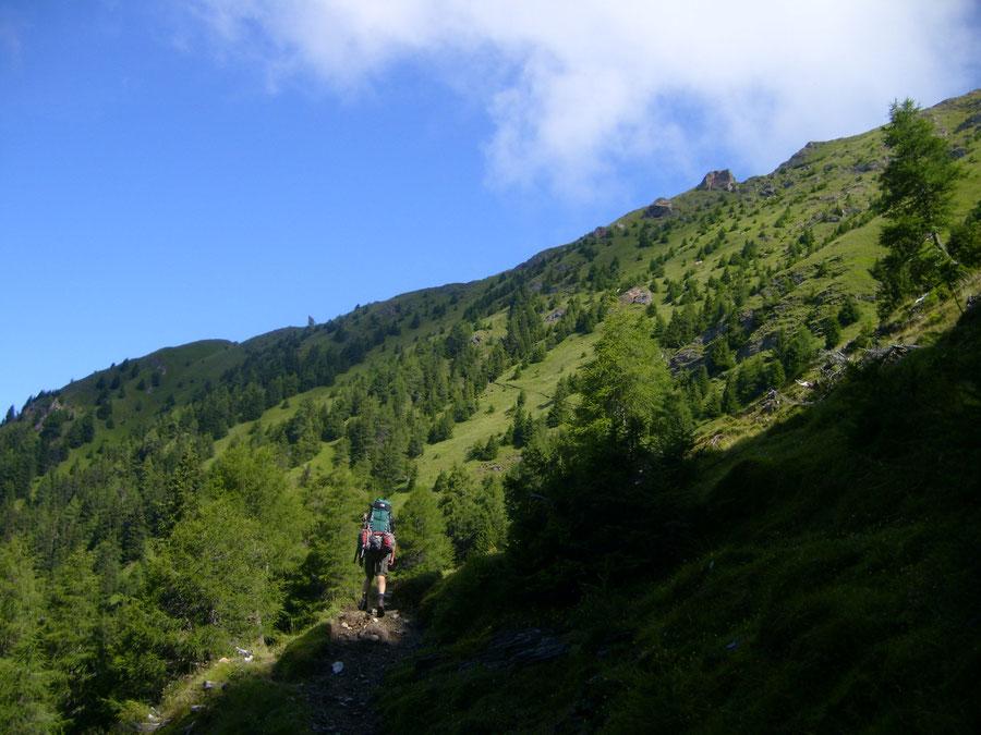 Pfunderer Höhenweg - Höllenkragen Aufstieg von Trenser-Joch-Hütte - Wanderung, Pfunderer Berge, Südtirol