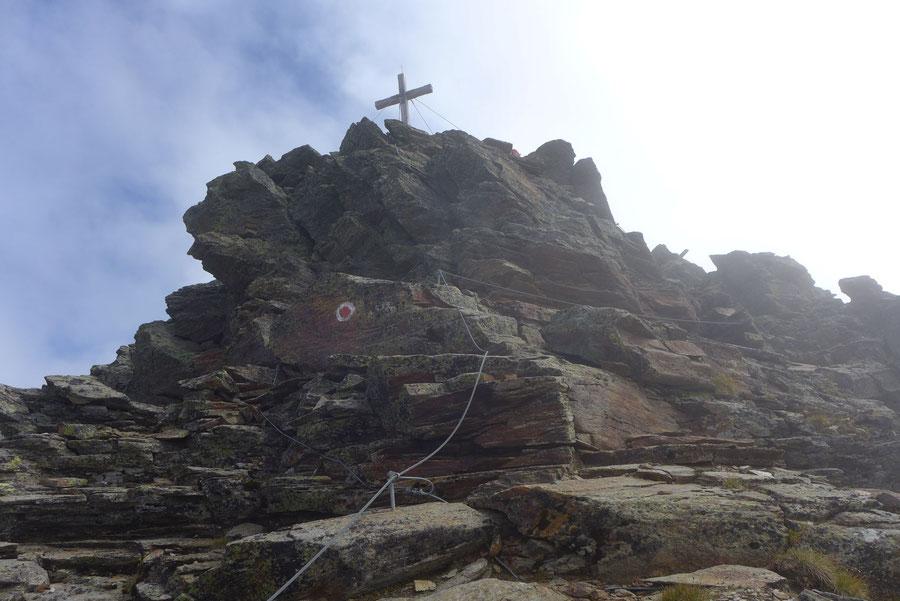 Polinik - Gipfel, gesicherte Kletterstelle - Normalweg, Bergtour, Kreuzeckgruppe, Kärnten