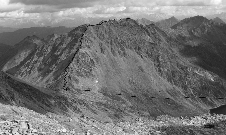 Napfspitze - Normalweg, Routenverlauf - Bergtour, Nordgrat, Edelrauthütte, Südtirol
