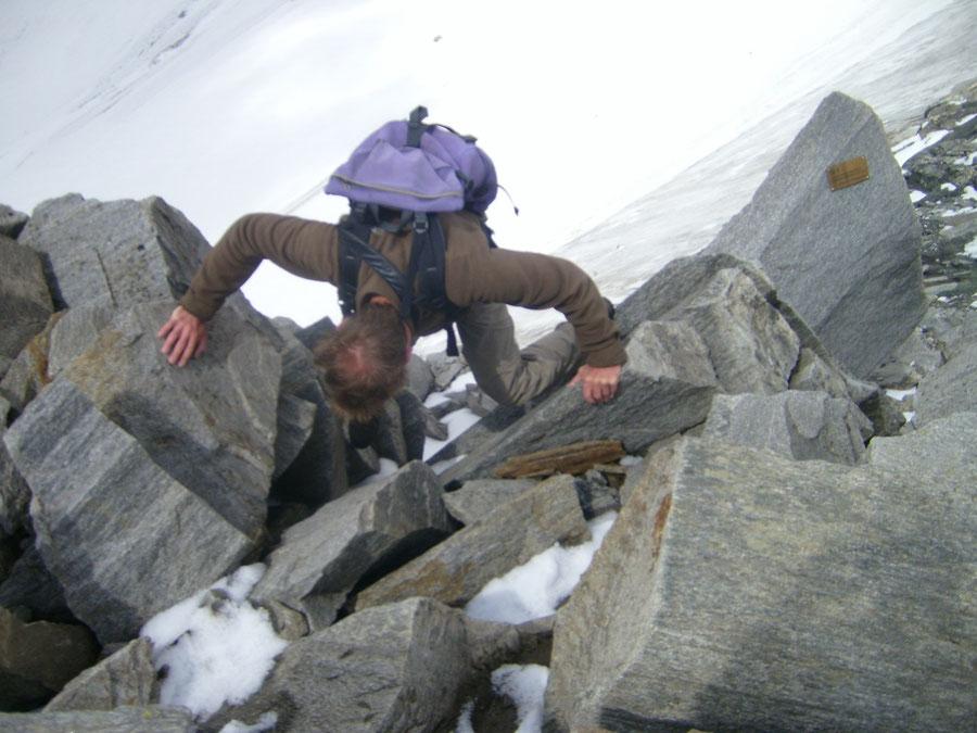 Hoher Weißzint - Südwestgrat ausgesetzte Stelle - Bergtour, Zillertaler Alpen, Südtirol, Edelrauthütte
