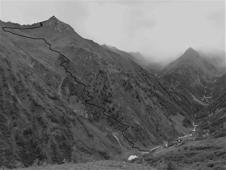 Toinigspitze - Normalweg, Routenverlauf - Bergtour, Lasnitzenhütte, Lasörlinggruppe, Hohe Tauern