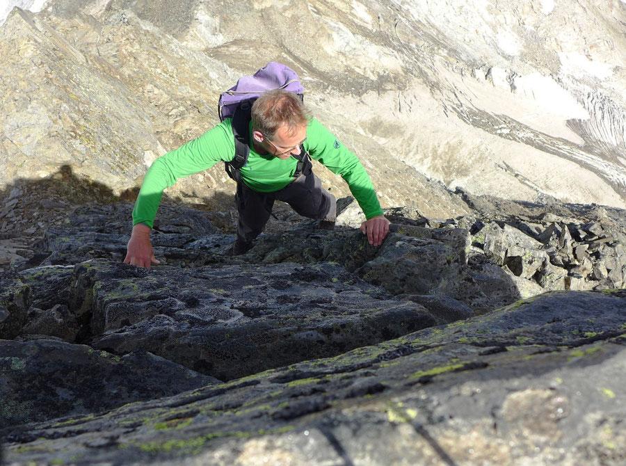 Nördliche Malhamspitze - Bergtour, Ostgrat, Essener-Rostocker-Hütte - Ostgrat, ausgesetzte Stelle
