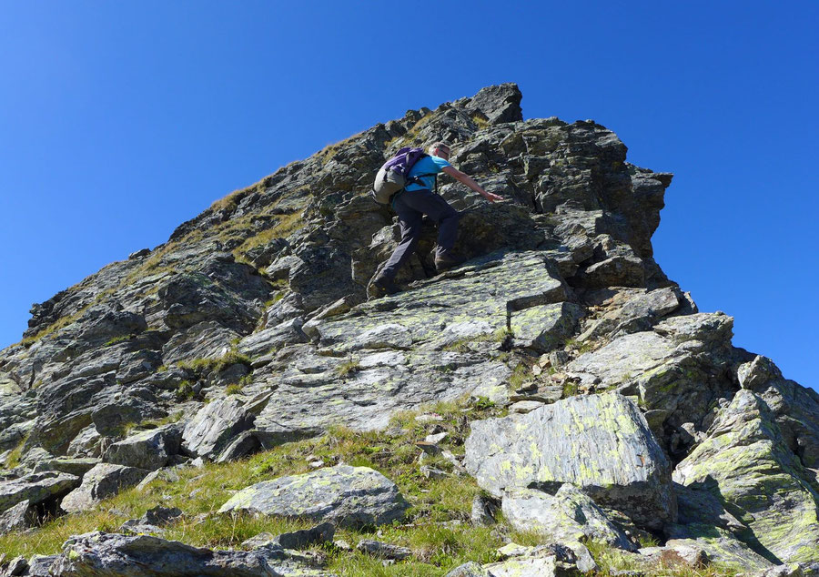 Kreuzeck - Ostgrat, Kletterstelle unterer 2. Grad - Bergtour, Feldnerhütte, Kreuzeckgruppe