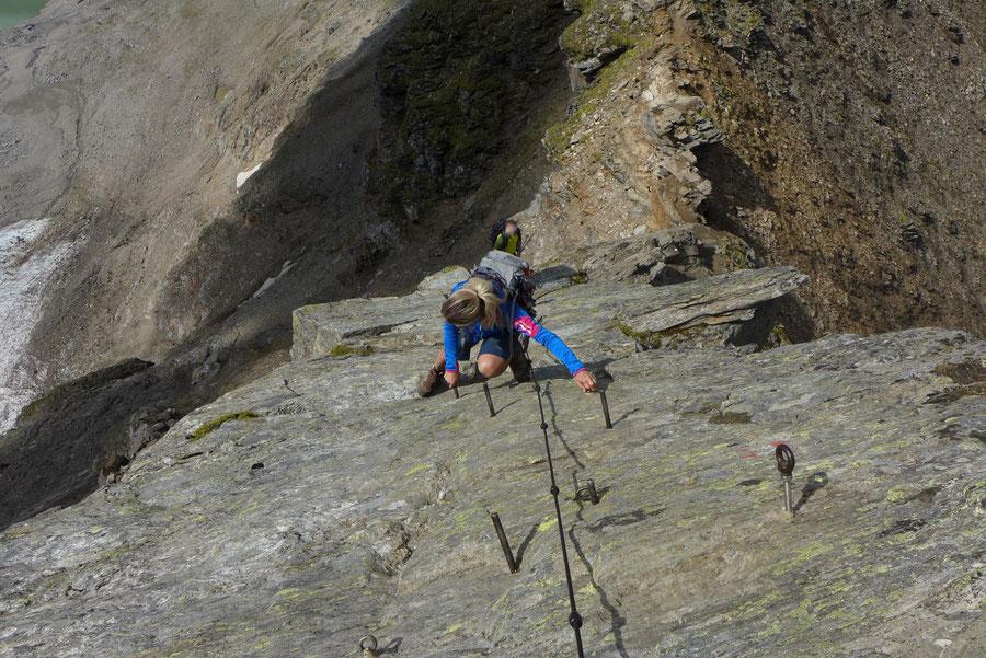 Schareck Pröllweg - Sicherungen am Westgrat des Schareck - Bergtour, Klettersteig, Niedersachsenhaus