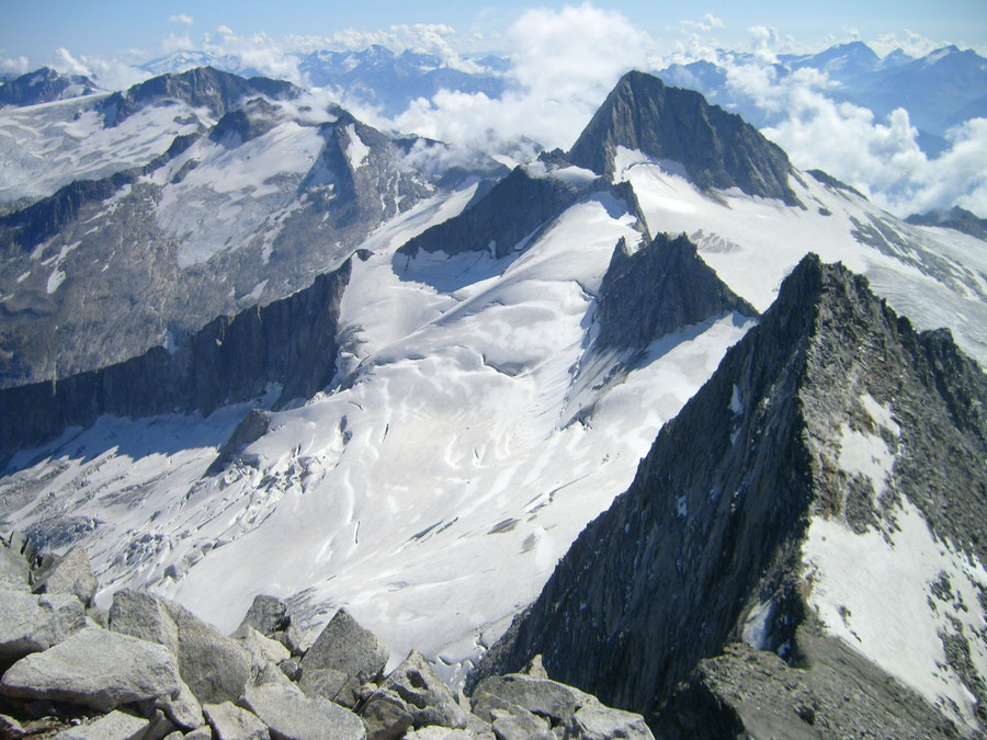 Großer Möseler - Gipfel Blick zum Turnerkamp - Bergtour, Zillertaler Alpen, Südtirol, Chemnitzer Hütte