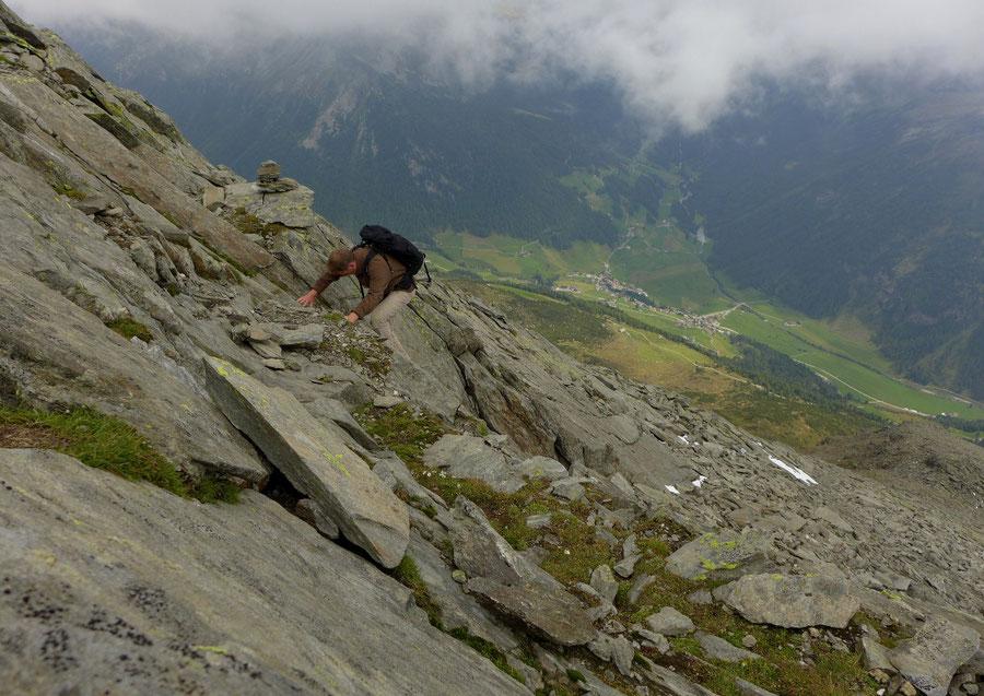 JWD Bergtouren Durreck-Südostgrat oberer Teil seichter Riss