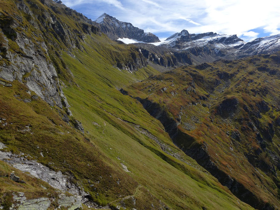 Krefelder Weg - schmaler Steig im Wurfkar - Rudolfshütte, Krefelder Hütte, Bergtour, Tauern