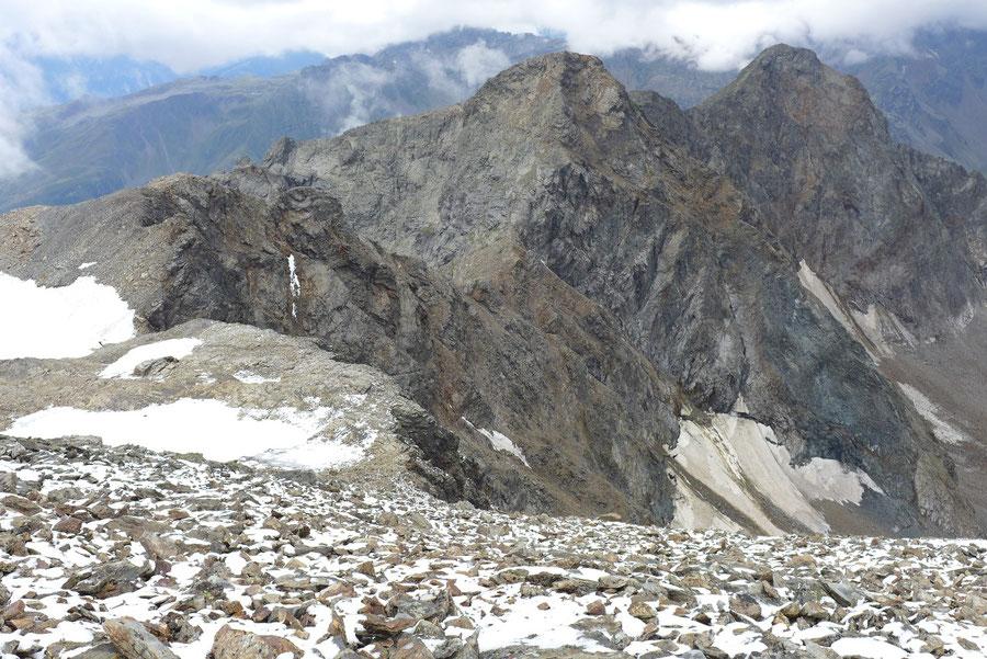 Petzeck Normalweg - Gipfel, Blick zu Kruckelkopf und Perschitzkopf - Bergtour, Wangenitzseehütte, Schobergruppe