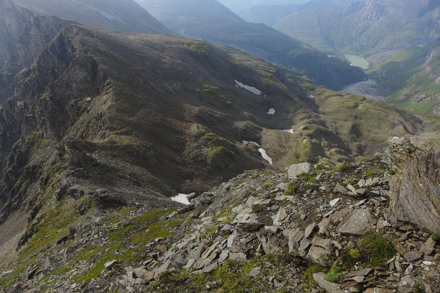 Kapuziner - Südostgrat, Blick zum Nassfeldspeicher - Bergtour, Großglockner Hochalpenstrasse, Kärnten