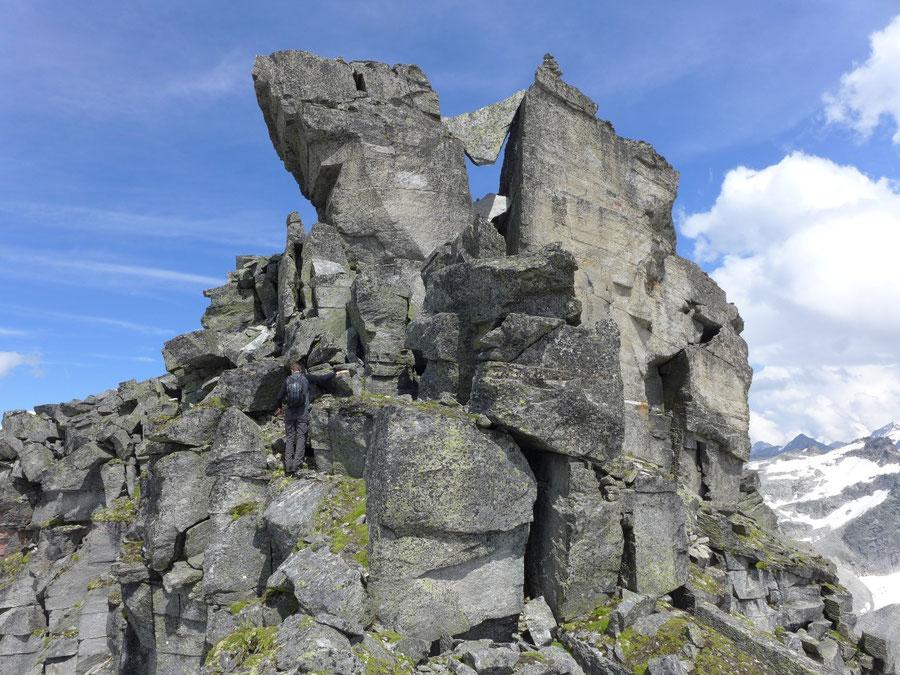 Großer Landeckkopf Südwestgrat - Kamin mit Klemmblock - Bergtour, Granatspitzgruppe, Osttirol