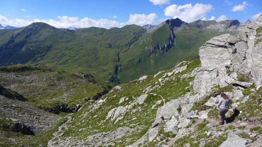 Hoher Sadnig - Kapitzenbühel, Abstieg zum Sadnighaus - Bergtour, Fraganter Hütte, Sadnigscharte