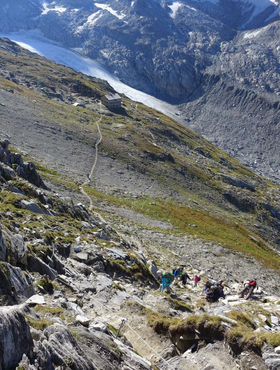 Hochfeiler - Gesicherte Stelle über der Hochfeilerhütte - Normalweg, Bergtour, Zillertaler Alpen, Südtirol