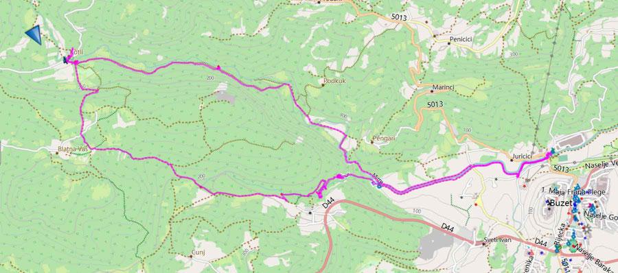 Start Jurucici, 16,4 km; 378 hm