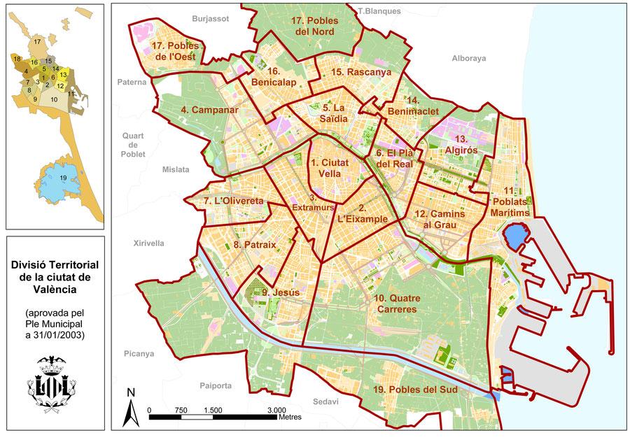 División territorial  de la ciudad de València