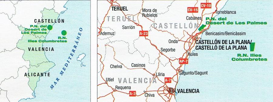 Mapa de los Parques Naturales del Desierto de las Palmas y de la Islas Columbretes Comunidad Valenciana.