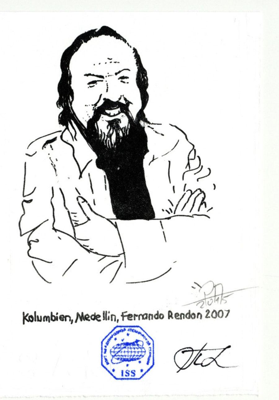 Fernando Rendon als Grafik gedruckt mit Bordstempel der ISS und signiert vom Kommandant Padalka