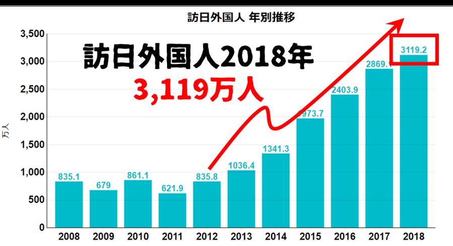 ※訪日外国人 年別推移表(日本)