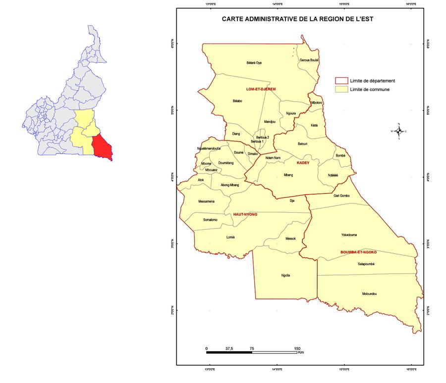Le Département de la Boumba et Ngoko (en rouge) et les autres départements de la région de l'Est (en jaune) sur la carte administrative du Cameroun