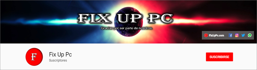 Canal YouTube Portada Fix Up Pc