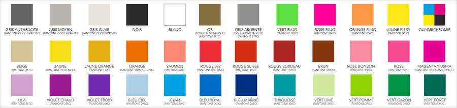 couleurs standards au choix, fabrication d'un pantone: supplément de 35.-- fr  tarifs en franc suisse, hors TVA 7.7 % / frais de port: 15.-- / Délai 5 jours / délais 3 jours: + 20 %