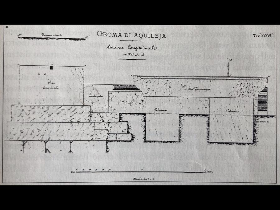 Fig. 12 - Rappresentazione del disegno elaborato dal disegnatore Del Neri, e pervenuto a noi tramite la pubblicazione dl Prof. Legnazzi, redatta da Drucker e Tedeschi Del castro romano, Verona 1887 - Studio dell'Ing. Grablovitz,