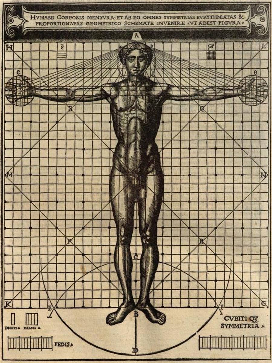 Rappresentazione grafica dell'Homo vitruviano in cui vengono espressi i concetti di misure e simmetrie del canone vitruviano, tratta dal De architectura tradotto da Cesare Cesariano, Milano 1521