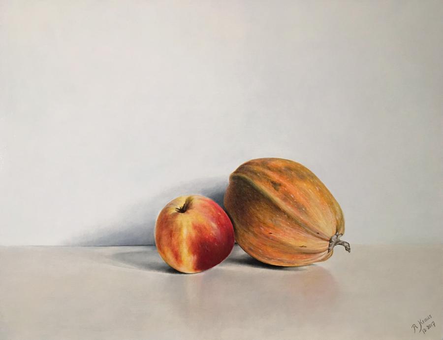 Appel en Courgette - Olieverf op paneel (50 x 40 cm - 12-2017) € 1250