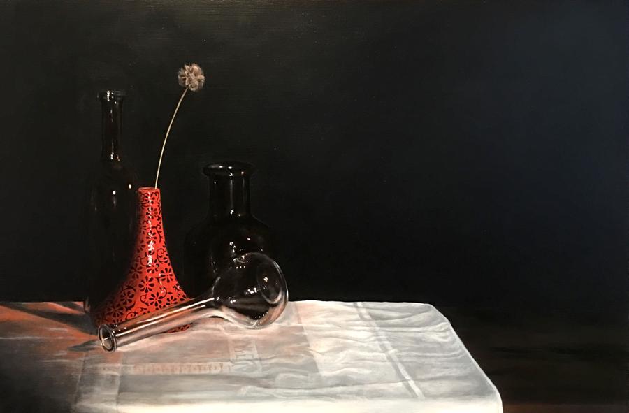 Glaswerk - Olieverf op paneel (60 x 40 cm - 07-2017) € 850,-
