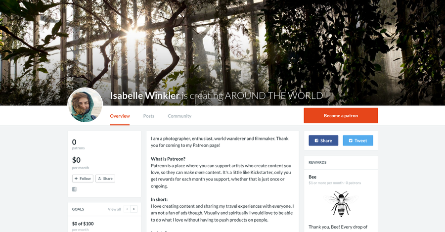 Meine Seite bei Patreon, Isabelle Winkler is creating around the world