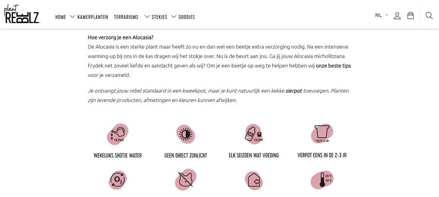 Verzorgingsadvies op de website van Plant Rebelz.
