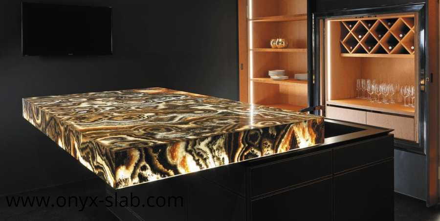 Lighted Onyx Countertops, onyx countertops price, black onyx countertop, onyx countertops with lights, Backlit Onyx Countertop, onyx dining table