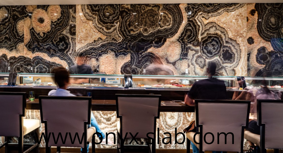 Illuminated Onyx Bar, onyx slabs restaurant, bookmatched onyx slabs, wall onyx, translucent onyx slab, black onyx, bookmatched stone, bookmatched stone slabs , Onyx Slabs Manufactured, Onyx Slabs Price, Onyx Slabs Sale, Direct Factory Price, onyx slabs