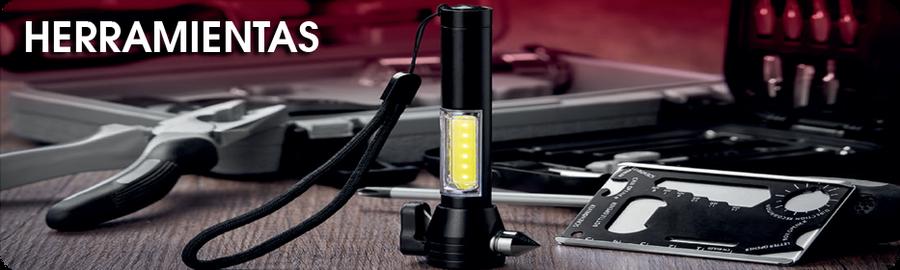 herramientas, porta placa, lampara, medidor de presionde aire, flexometro, Promocionales Alexa