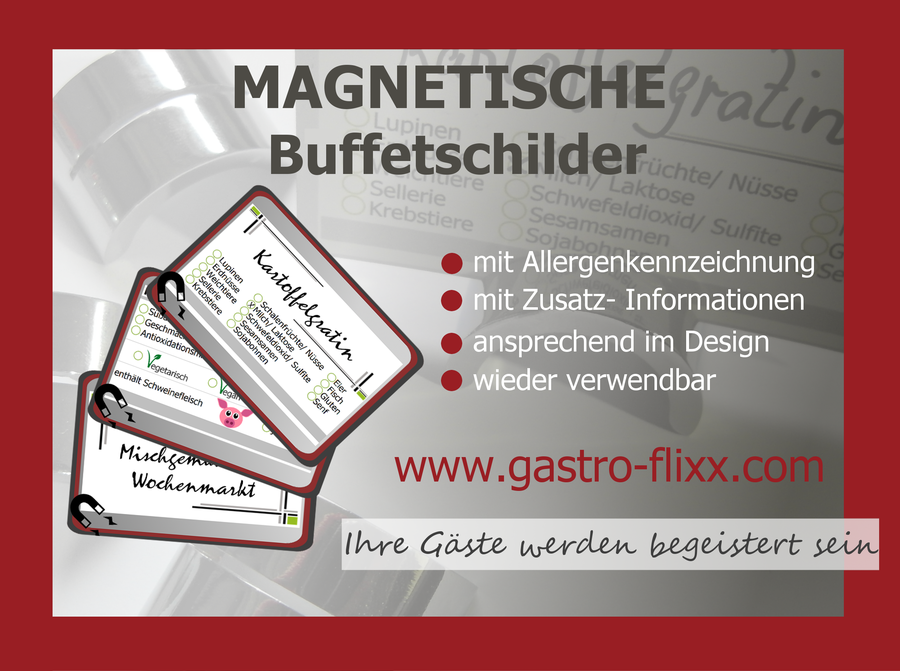 Buffetaufsteller, Buffetschilder, Buffetbeschilderung, allergene Kennzeichnung in der Gastronomie