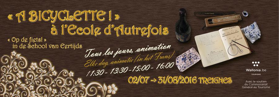 """Animation dans l'École d'Autrefois à Treignes sur le thème du vélo : """"A bicyclette !"""""""