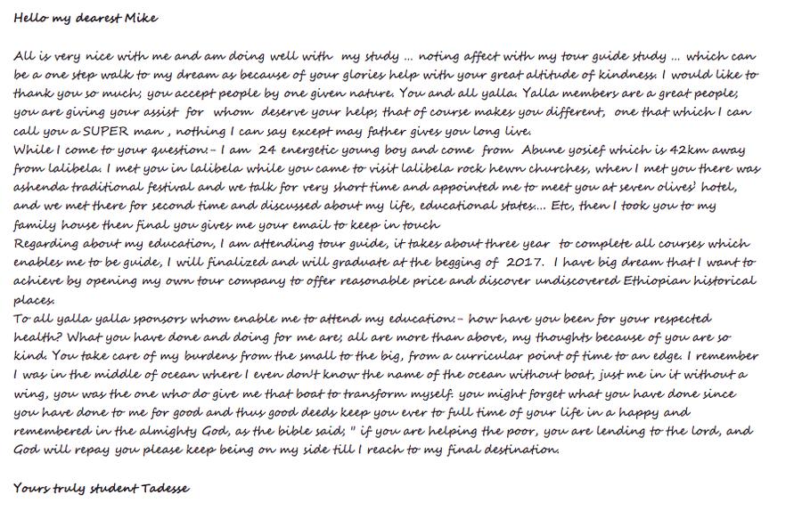 Auszug aus einem Brief von Tadesse