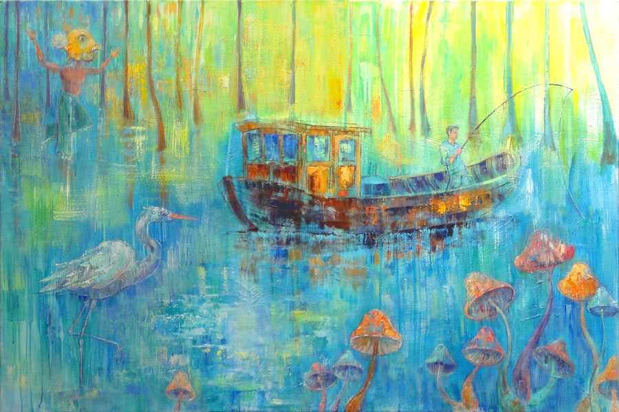 Boat Trip, 120 x 80 cm, oil on canvas