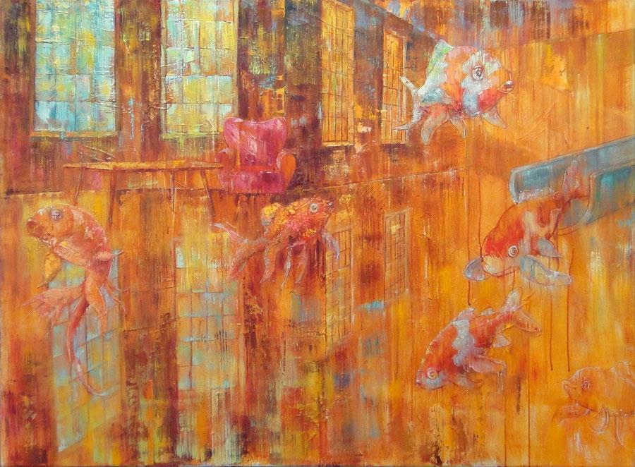 Fish flip, 120 x 80 cm, oil on canvas