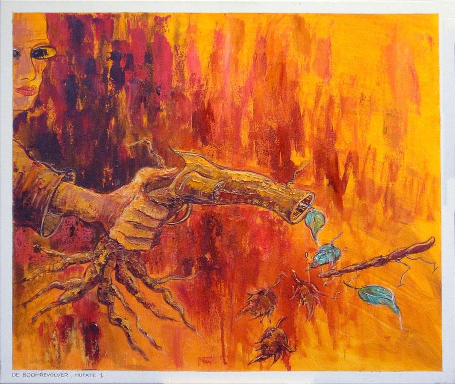de boomrevolver mutatie1, 70-60 cm, oil on canvas