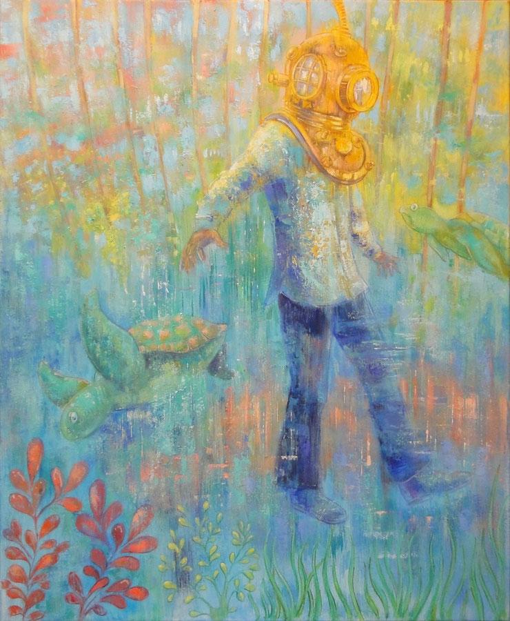 Waterwandelaar, 100 x 120 cm, oil on canvas