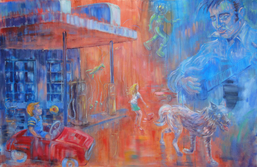 Just in blue time, 120-80 cm, oil on canvas