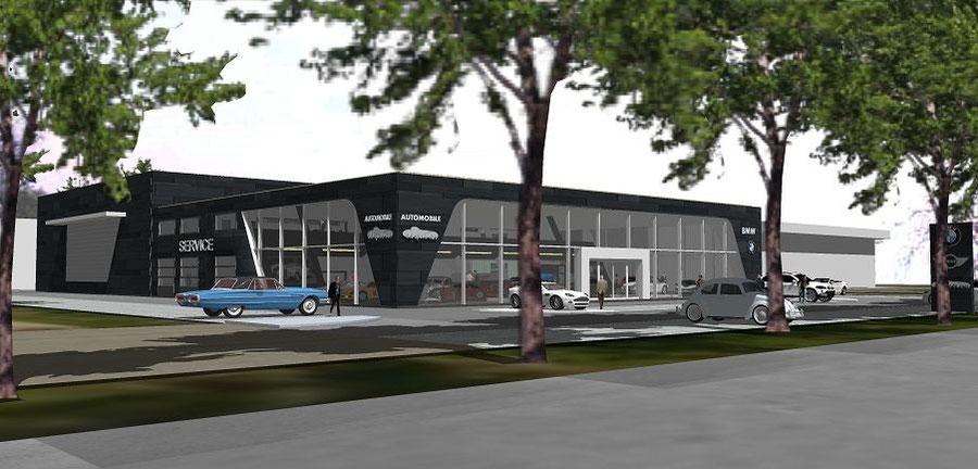 Bild1: Visualisierung Autohaus am Schifffahrter Damm, Glasfassade,Vorhangfassade,Bockhaus-Odenthal Architenken Münster, Gewerbe,Lounge