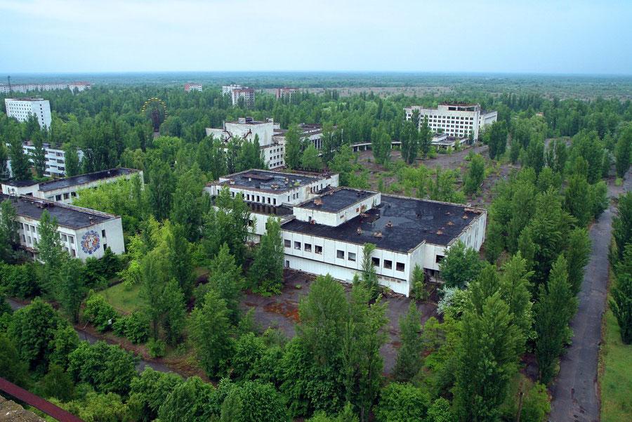 Blick vom 16-geschossigen Parteigebäude auf den zentralen Platz