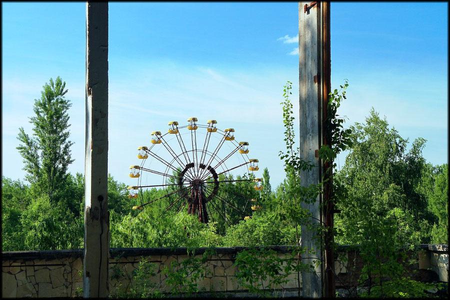Blick aus dem Kulturpalast auf den Freizeitpark
